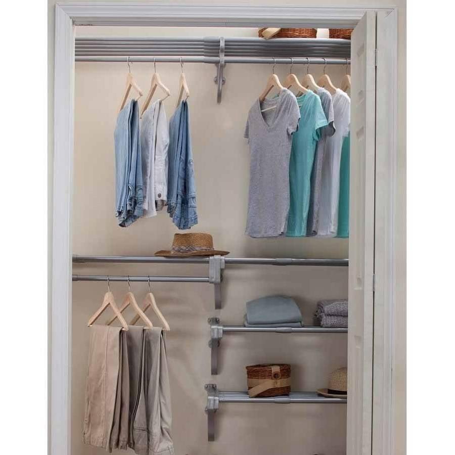EZ Shelf Walk In Closet Organizer, 5 Closet Shelves And Rods And 4 End  Brackets, White   Walmart.com