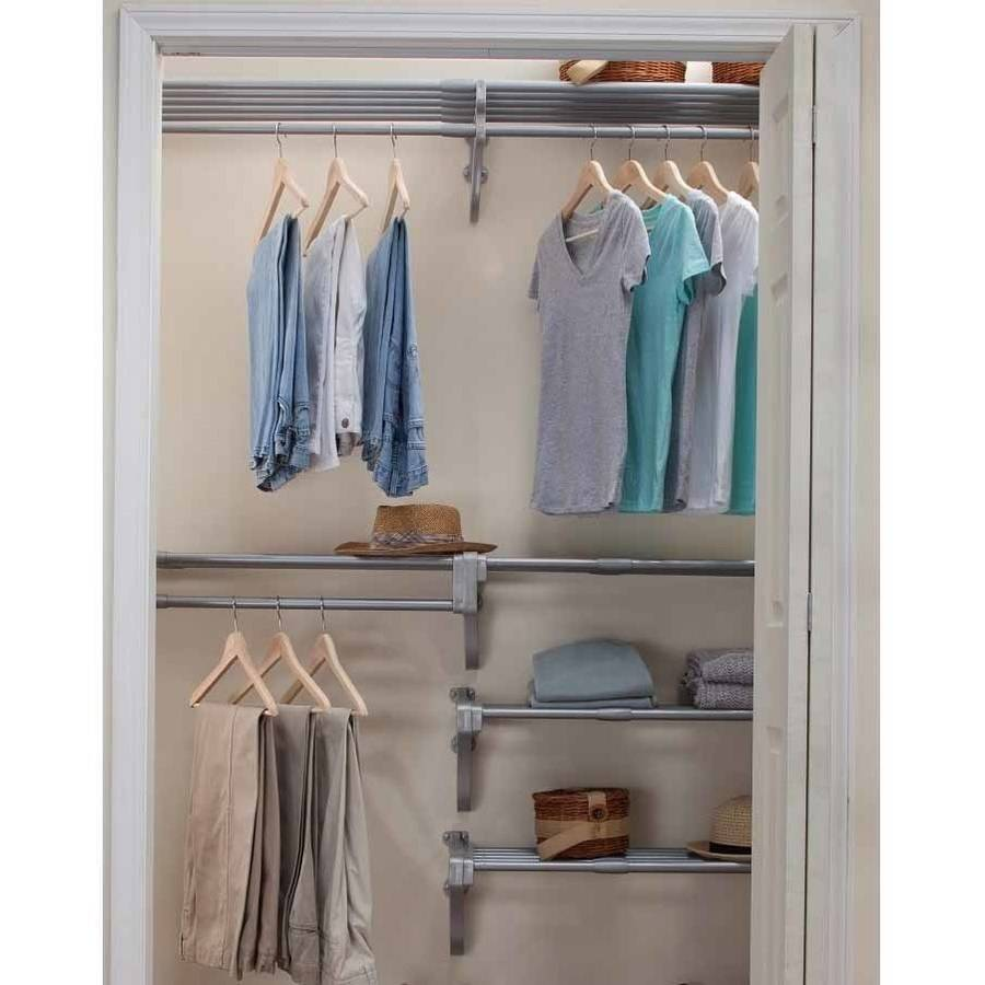 EZ Shelf Reach-In Closet Kit, Up to 10.1' of Hanging and 20' of Shelf Space, Silver
