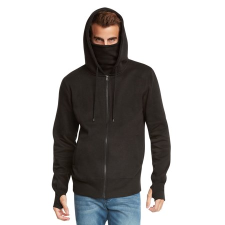 Ninja Zip (Men's Fleece Full-Zip Ninja Hoodie by 9 Crowns Essentials )
