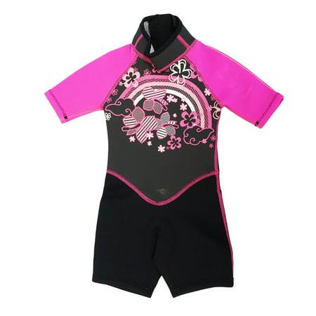 Kiddi Choice Kids 2.5mm Neoprene Short Sleeve Wetsuit Black/Pink, 6 ()