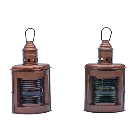 Antique Nautical Lamps (Antique Copper Port and Starboard Oil Lamp 12