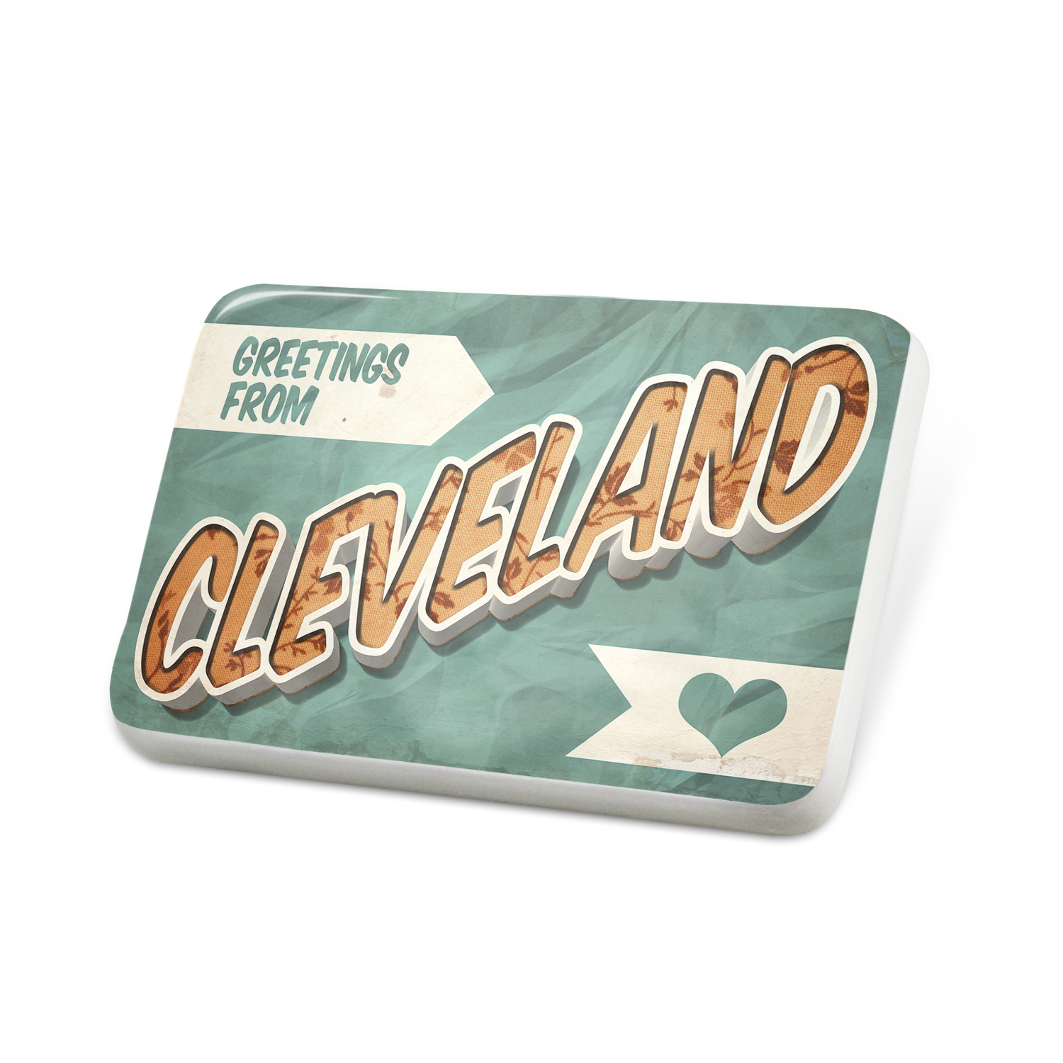 Porcelein Pin Greetings from Cleveland, Vintage Postcard Lapel Badge – NEONBLOND