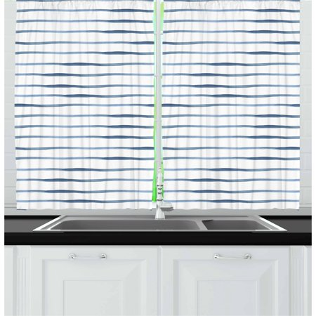 Harbour Stripe Curtains 2 Panels Set Abstract Brushstroke