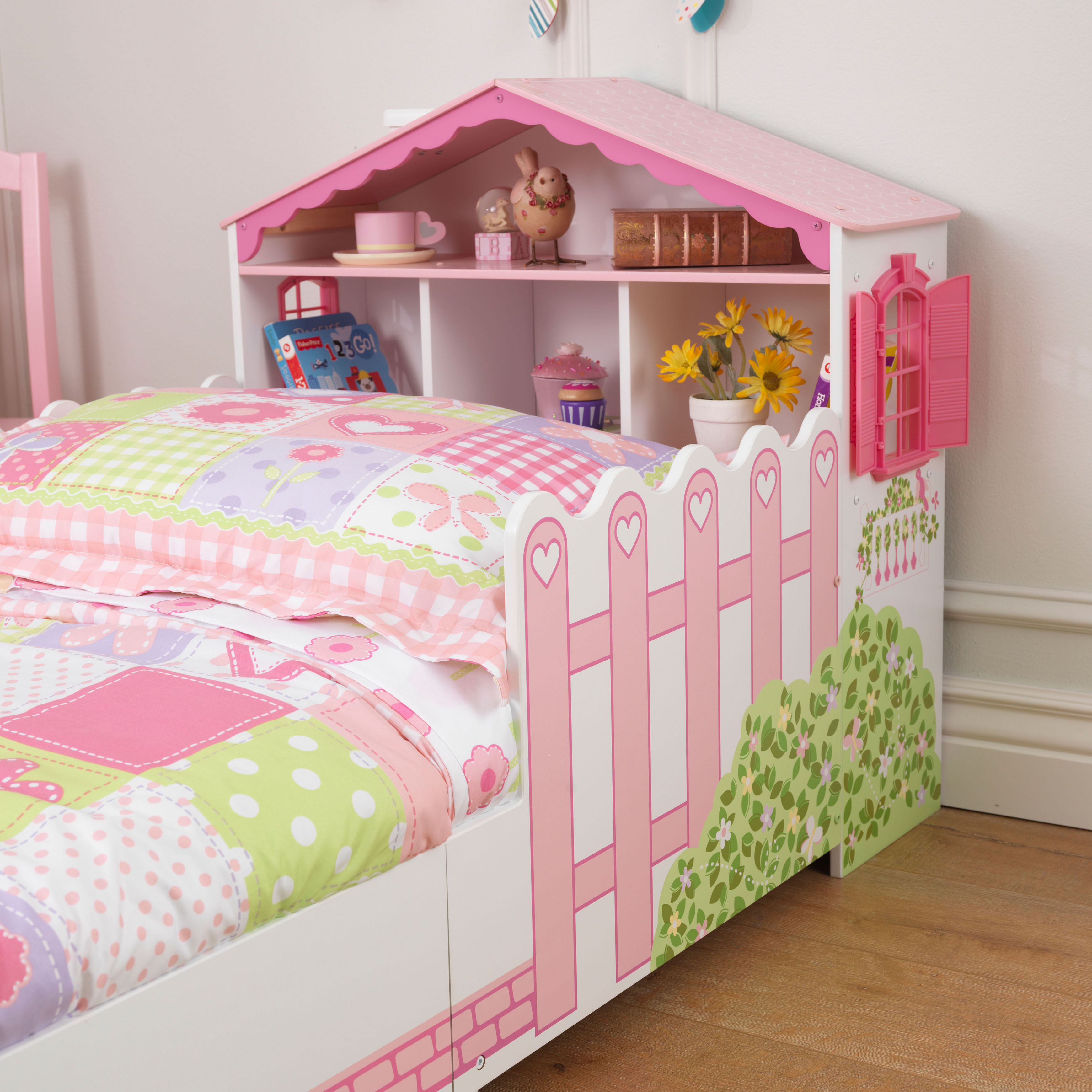 Kidkraft Dollhouse Toddler Bed Pink With Bed Rails
