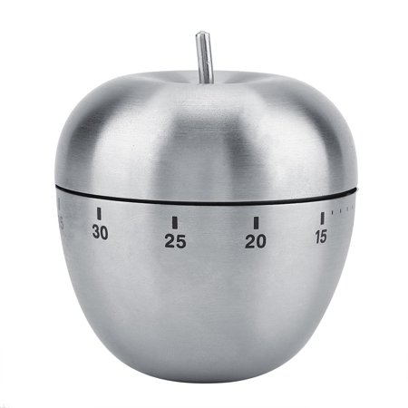 Ejoyous Stainless Steel Apple-shaped Mechanical Alarm Timer 60-Minute Countdown Kitchen Cooking Tool, Kitchen Timer, Stainless Steel Mechanical Timer