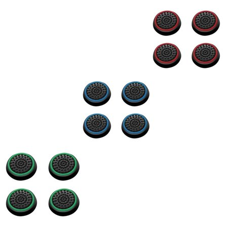 Insten 12 pcs Green & Red & Blue Controller Analog Thumbstick Cap for Microsoft Xbox 360/Xbox One Sony PlayStation 2/3/4