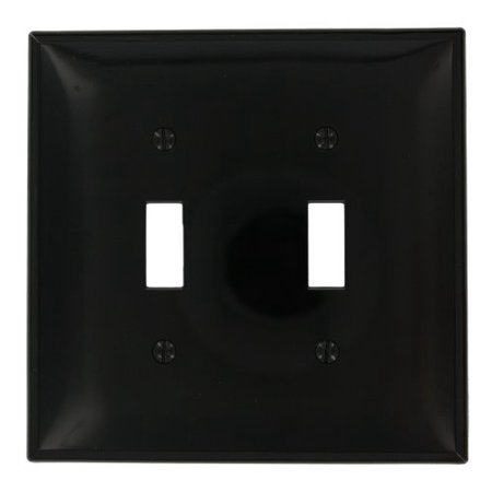 Leviton PJ2-E Black Midway Nylon Two Gang Toggle Light Switch Wall Plate 2 Gang Switch Wall Plates
