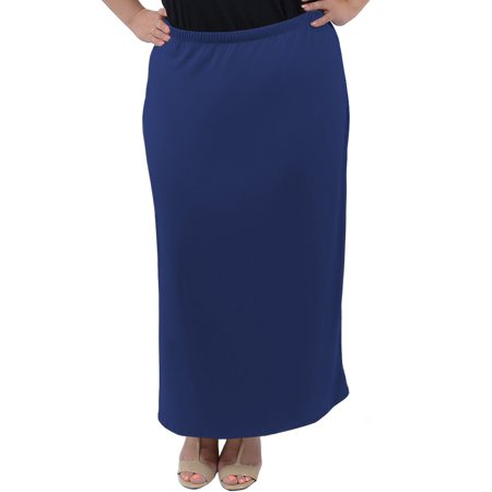 Plus Size Long Tube Skirt - 2X (16-18) / Navy Blue - Plus Size Hippie Skirts