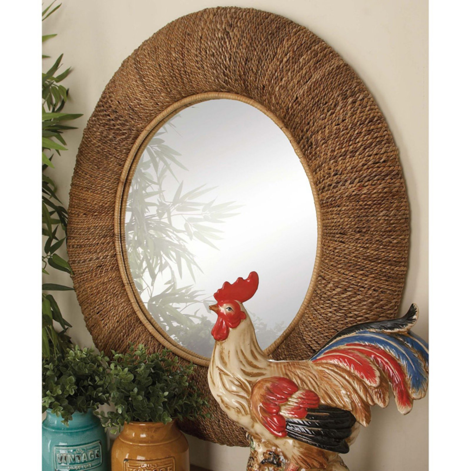 Brown Tamper Mirror With Sturdy Solid Frame In Round Shape by Benzara