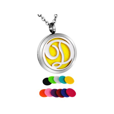 Monogram D Perfume Essential Oil Diffuser Necklace Locket - Monogrammed Locket