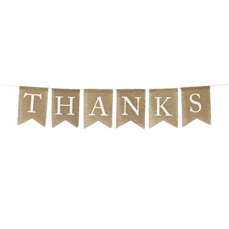 Thank You Banner (Andaz Press Real Burlap Fabric Pennant Hanging Banner Thank You, Pre-Strung, No Assembly Required,)