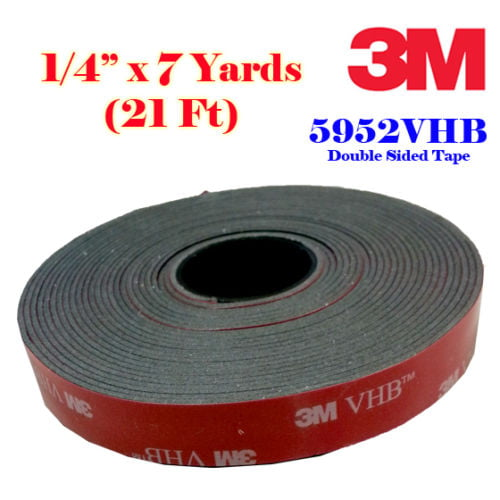 "3M 1//2/"" x 16 ft  VHB Double Sided Foam Adhesive Tape 5952 Automotive Mounting"
