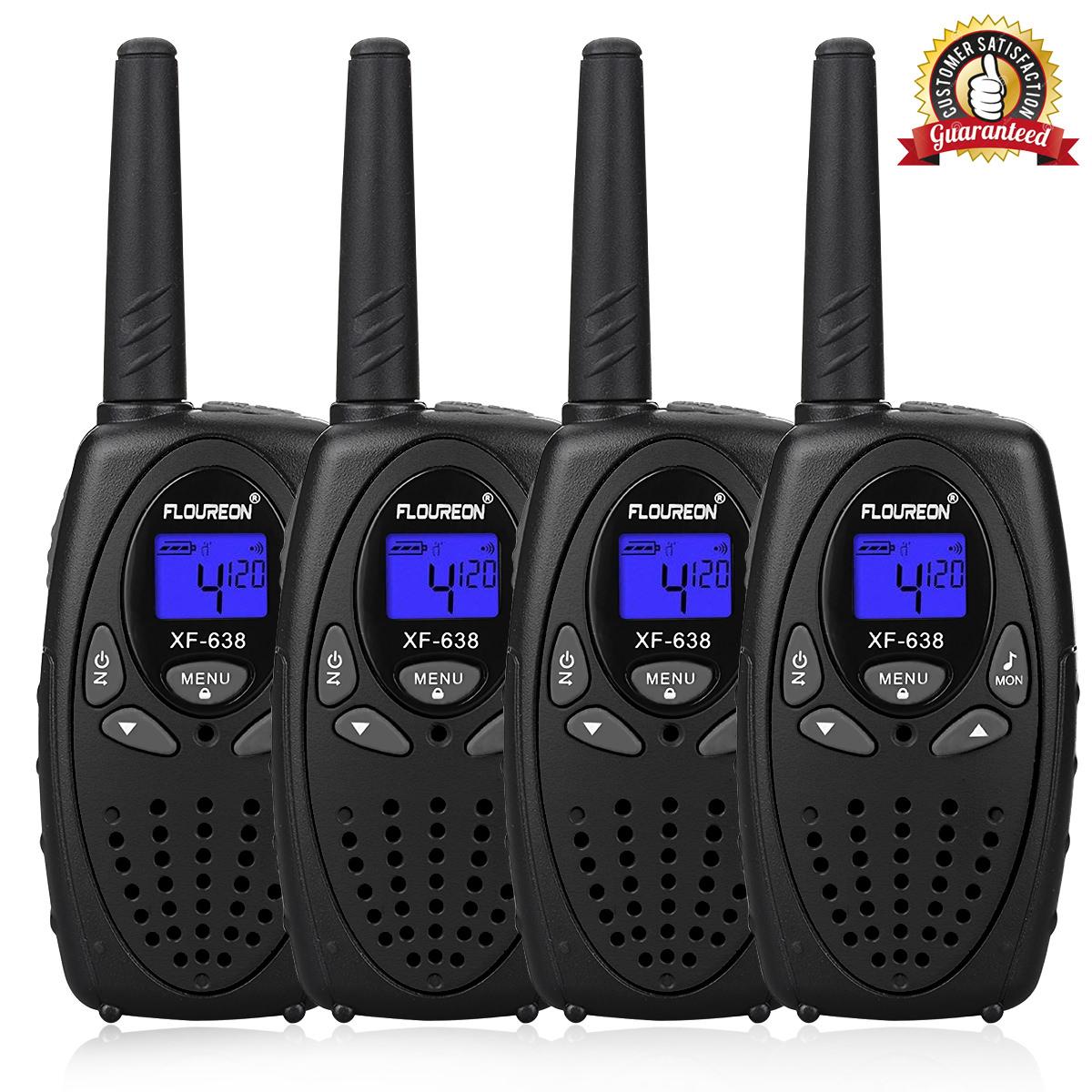 Kids Walkie Talkies, FLOUREON 22 Channel Two-Way Radio Best for Kids Long Range 3000M Handheld Outdoor Interphone/Portable Toy Radio Transceiver(4 Packs)