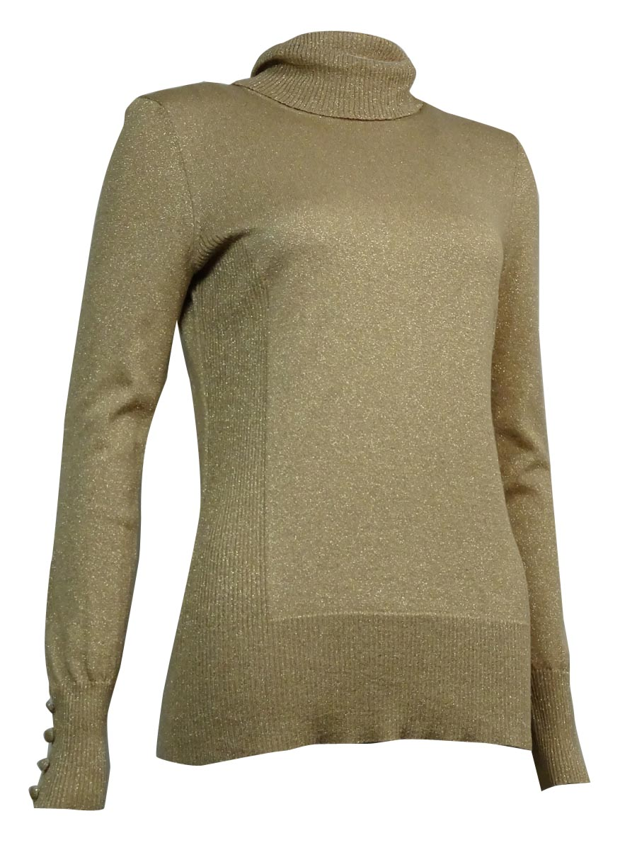 Cable & Gauge Women's Button-Trim Metallic Turtleneck Sweater by Cable & Gauge
