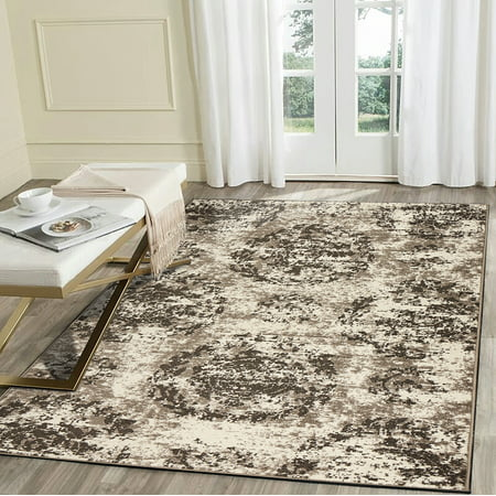 LR Home Infinity 8x10 Cream Brown Gray Suzani Abstract Distressed Indoor Modern Contemporary Area Rug - 7 ft. 9 in. x 9 ft. 5 (Cream Brown Area Rug)