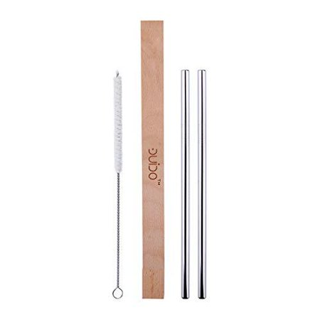 Collapsible Wood (Stainless Steel Straws with Case –(4 Pack) 2 8.5 Inch Travel Eco-Friendly Reusable Straws and 1 Wood Case – Personal Straw Kit better than Collapsible and Foldable Metal Straw fits Yet)