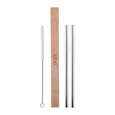 Stainless Steel Straws with Case –(4 Pack) 2 8.5 Inch Travel Eco-Friendly Reusable Straws and 1 Wood Case – Personal Straw Kit better than Collapsible and Foldable Metal Straw fits