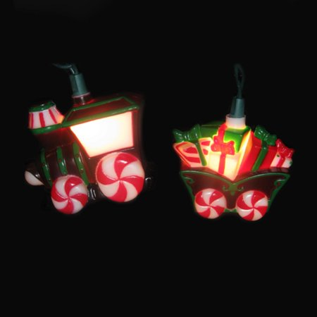 Novelty Lighting Mart : Set of 10 Candy Train and Carriage Novelty Christmas Lights - Green Wire - Walmart.com