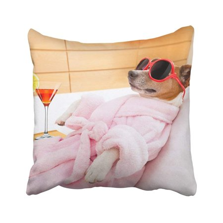 BPBOP Jack Russell Dog Relaxing And Lying In Spa Wellness Center Wearing Bathrobe And Funny Pillowcase Throw Pillow Cover 16x16 (Bella Nuova Med Spa & Wellness Center)