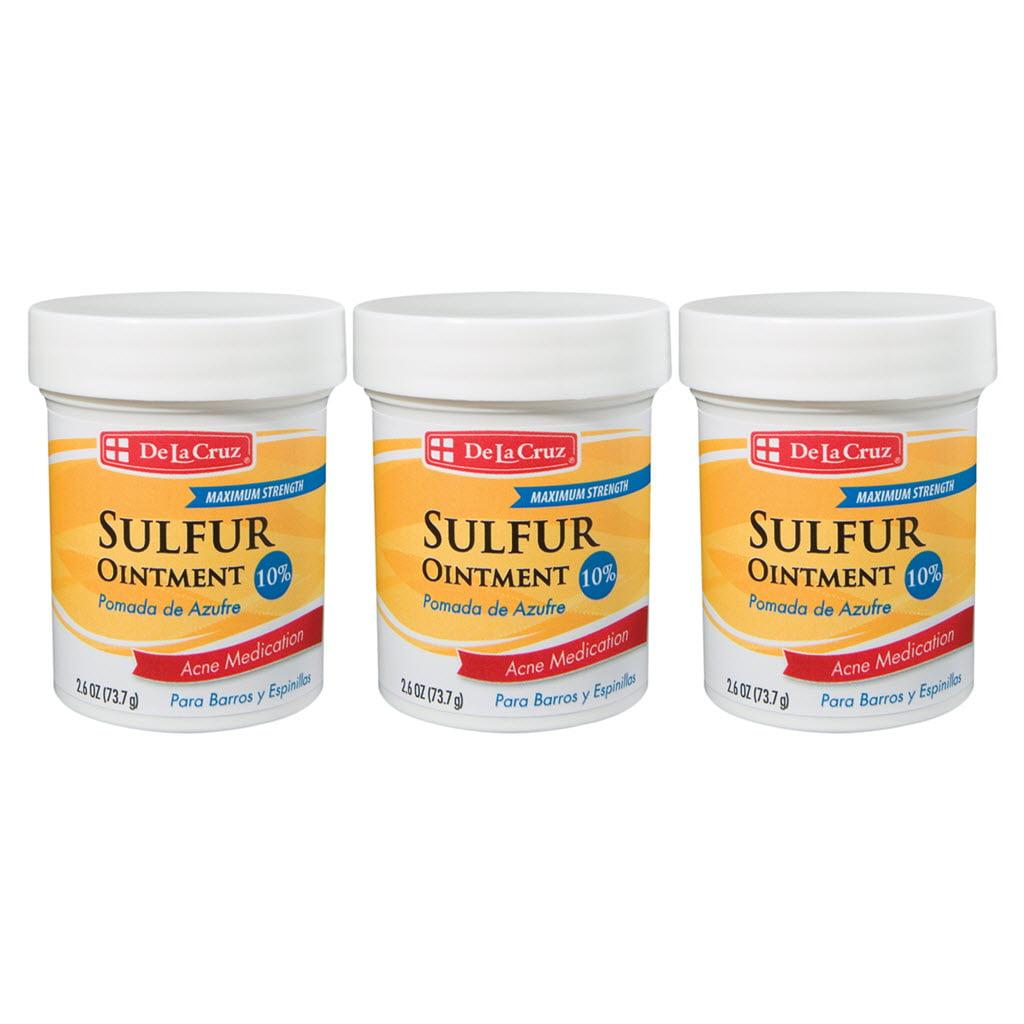 (2 Pack) De La Cruz Sulfur Ointment Acne Medication 10%, 2 6 oz