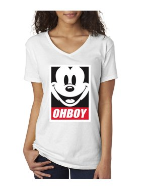 ab42bffcd Product Image New Way 416 - Women s V-Neck T-Shirt Oh Boy Mickey Mouse Face