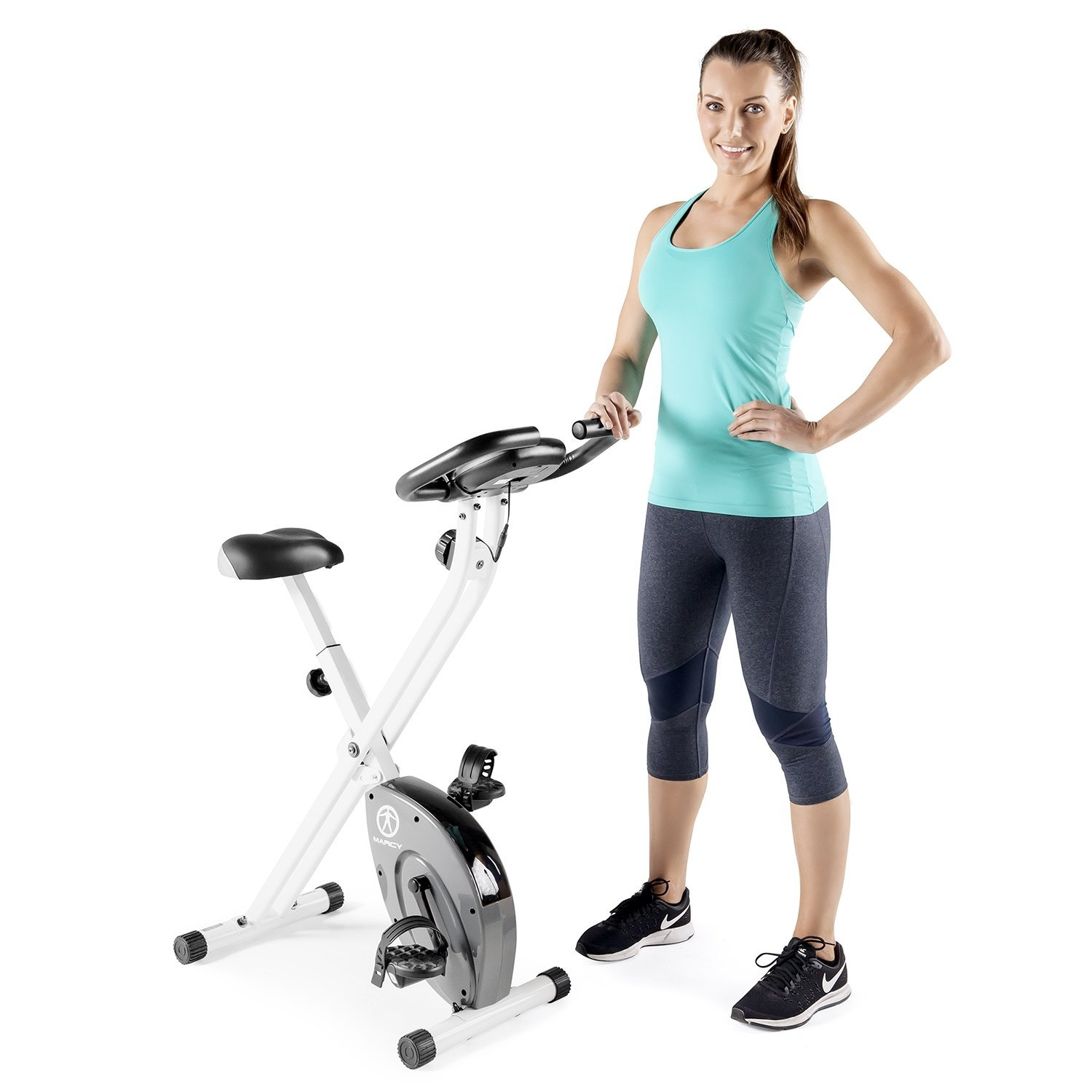 Marcy Foldable Exercise Bike - White - Counterweighted Pe...