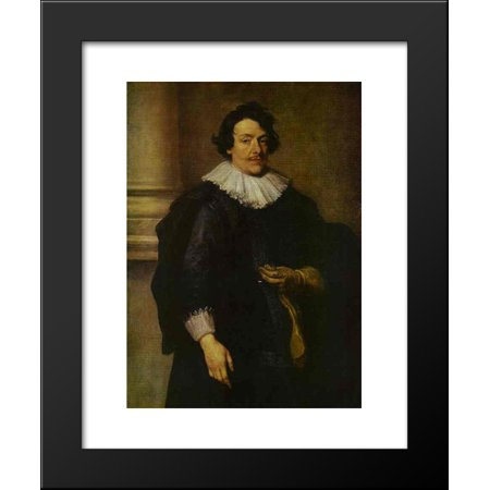 Portrait of a Gentleman Dressed in Black, in Front of a Pillar 20x24 Framed Art Print by Anthony van Dyck