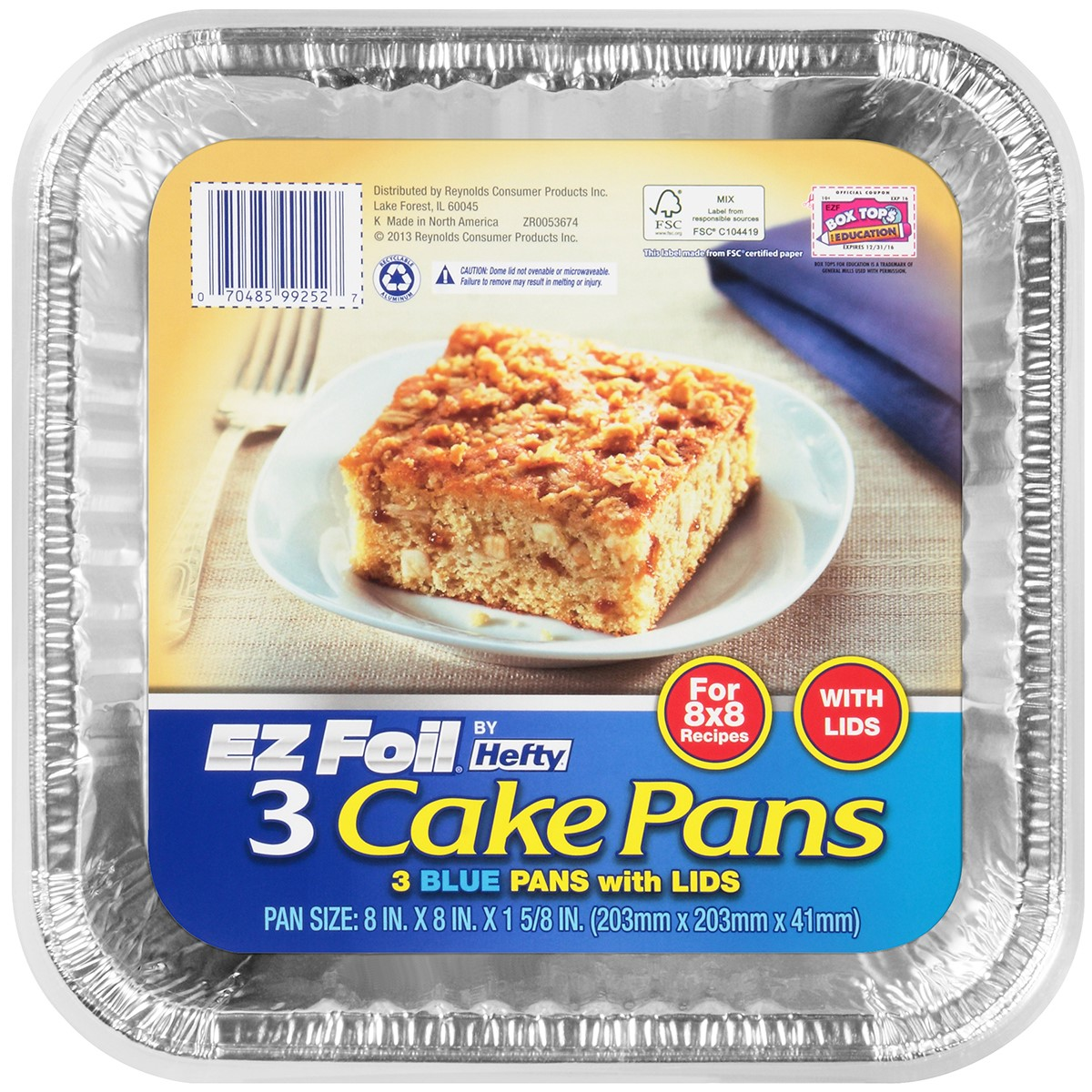 Square Cake Pan, Blue, 3 Count