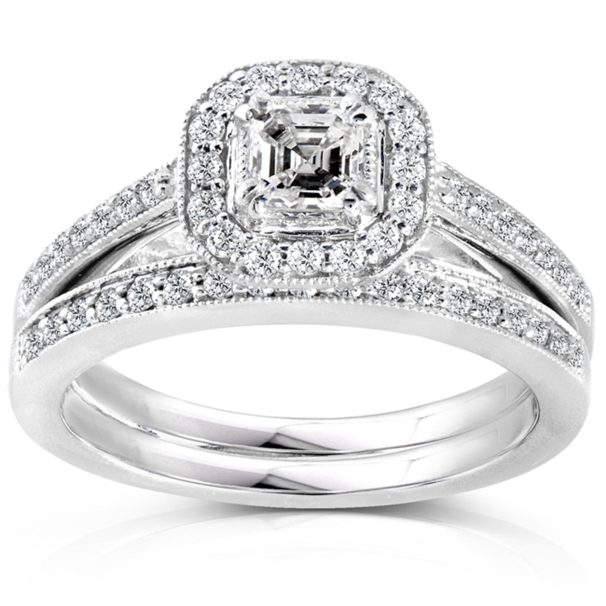 Diamond Wedding Set 5 8 Carat (ctw) in 14K White Gold by