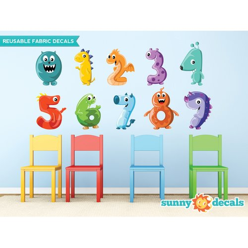 Sunny Decals Monster Numbers Fabric Wall Decal