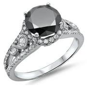 Noori 14k White Gold 2ct Certified Black Round Diamond Halo Engagement Ring Size-8
