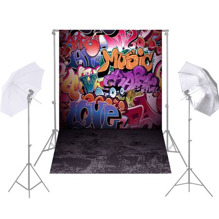 Graffiti Backdrop (Andoer 1.5 * 2.1m/5 * 7ft Street Graffiti Photography Background Doodle Scribble Colorful Brick Wall Backdrop Photo Studio)