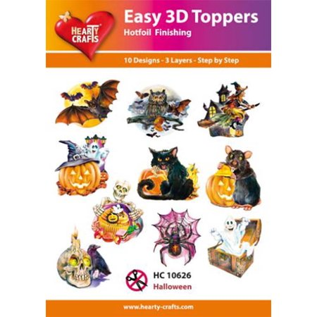 Hearty Crafts Easy 3D Toppers - Halloween - Easy Halloween Printable Crafts