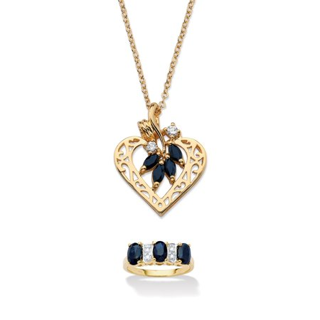 Birthstone Ring Pendants (3.40 TCW Sapphire 18k Gold over Silver Ring and Gold Tone Heart Pendant Necklace Set)