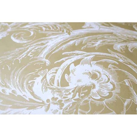 Interior Place RV9719 Raised Acanthus Leaf Wallpaper, Valencia Beige and Off (Raised Leaf)