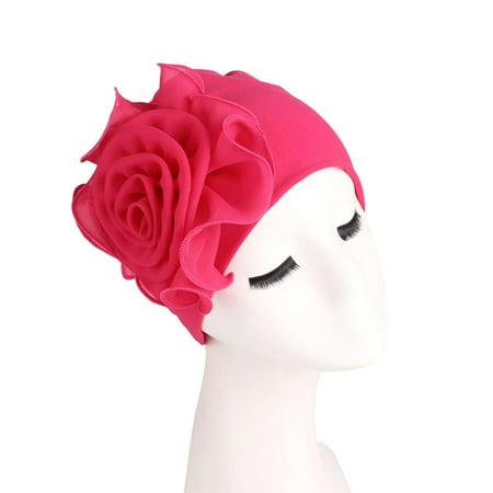 White Cross Bamboo - KABOER Side large flower bamboo fiber elastic headscarf cap chemotherapy hat muslim hat