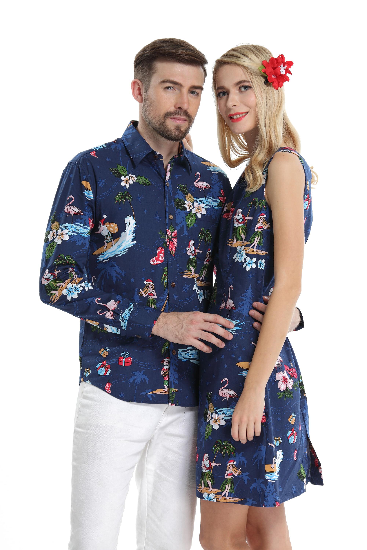 Couple Matching Hawaiian Luau Cruise Christmas Outfit Shirt Dress Santa  Navy Men S Women L