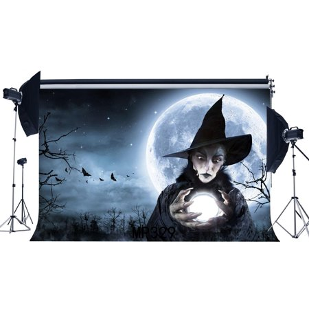 MOHome Polyster 7x5ft Photography Backdrop Halloween Horror Night Mysterious Moon Witch Scene Newborn Baby Toddler Adults Masquerade Portraits Background Photo Studio Prop (Universal Studios Halloween Horror Nights)
