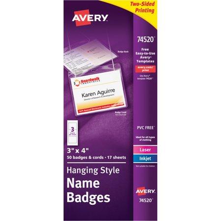 Avery Neck Hang Badge Holder w/Laser/Inkjet Insert, Top Load, 3h x 4w, White, 50/BX