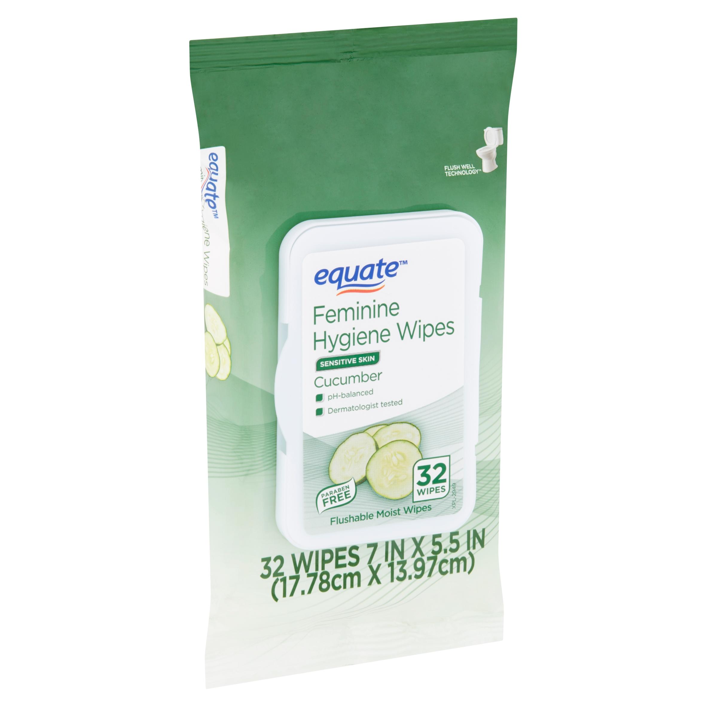 Equate Cucumber Feminine Hygiene Wipes, 32 count