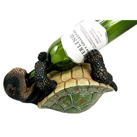 Atlantic Collectibles Drunken Coastal Sea Turtle Tortoise Wine Bottle Holder Caddy Figurine
