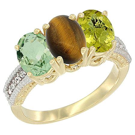 14K Yellow Gold Natural Green Amethyst, Tiger Eye & Lemon Quartz Ring 3-Stone 7x5 mm Oval Diamond Accent, sizes 5 - (Amethyst Tiger)