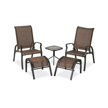 Courtyard Creations KTS7377 Verona Sling Chat Set, Brown, 5-Piece - Courtyard Creations KTS7377 Verona Sling Chat Set, Brown, 5-Piece