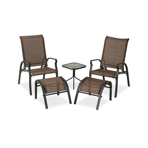 Courtyard Creations KTS7377 Verona Sling Chat Set, Brown, 5-Piece