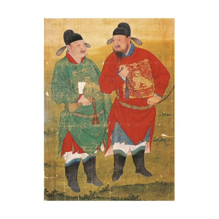 Chinese Art Silk Watercolor Painting (Painting on Silk Depicting Two Mandarins, China, 17th Century, Ming Dinasty Print Wall)