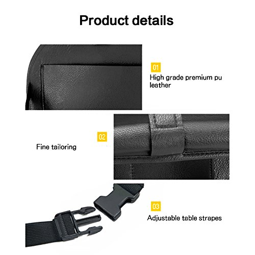 Folding Table Tablet and Drink Holders Accessories and Books PU Leather Caddy with Pockets Car Seat Organiser Storage for Travel Essentials Black Easy to Clean and Mount
