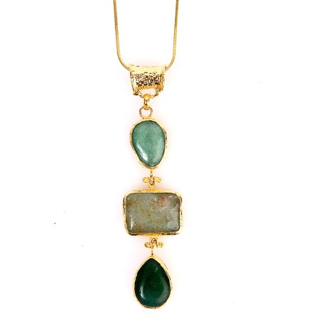 ELYA Gold-Plated Green Dyed Chalcedony Tiered Necklace