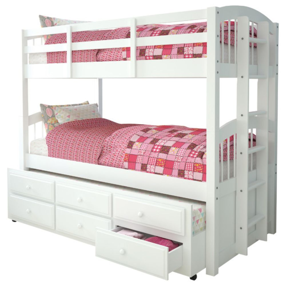 Bunk Bed With Trundle White Twin Over Twin Walmart Com Walmart Com