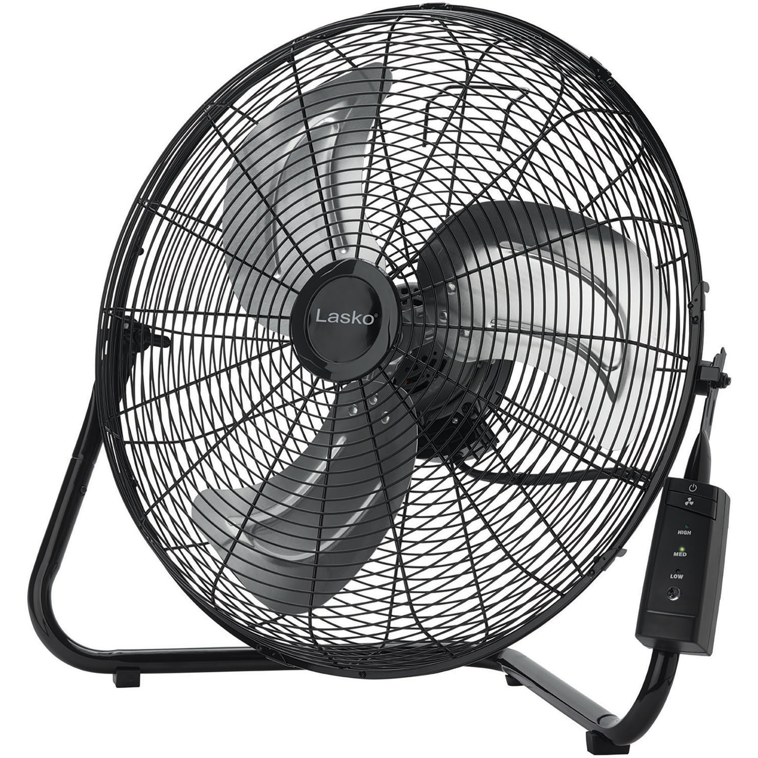 """Lasko 20"""" High Velocity Floor Fan with QuickMount Wall Mount and Remote Control in Black"""