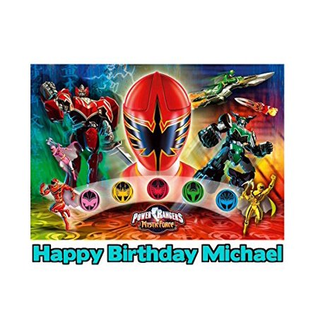 Power Rangers Mystic Force Image Photo Cake Topper Sheet Personalized Custom Customized Birthday Party - 1/4 Sheet - 79759